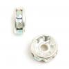 Rhinestone Rondelle (Flat Round) 8mm Crystal Aurora Borealis Silver
